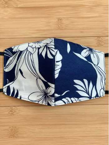 Monstera Orchid Navy Print Face Mask